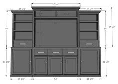 Ana White Build a Rebecca Media Center- Center Hutch Piece Free and Easy DIY Project and Furniture Plans Ana White, Furniture Plans, Diy Furniture, Vintage Furniture, White Furniture, Plywood Furniture, Modern Furniture, Furniture Design, Kitchen Furniture