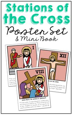 Stations of the Cross Posters and Mini Book. This Stations of the Cross set includes full color posters, black and white posters (perfect for coloring pages), and a mini book. Each of the pages includes a relevant Bible verse to explain the station.