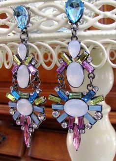 NEW Crystal Pierced Resin Stone Earrings Dangle Drop Bubble Post Back Women's US #DropDangleStatement