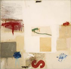 Robert Rauschenberg - 1957, Painting with Red Letter S. Combine: oil, paper, printed paper, and fabric on canvas (128.3 x 132.1 cm) Albright-Knox Art Gallery, Buffalo, New York