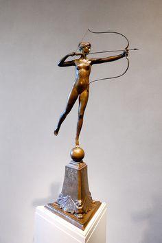 Diana of the Tower (conceived cast Augustus Saint-Gaudens (National Gallery of Art, Washington, D. Augustus Saint Gaudens, Diana, National Gallery Of Art, Art Forms, Modern Art, Art Deco, Bronze, Sculpture, Artemis