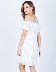 Back View of Dotted Lines Striped Dress #2020AVExLET'SGETAWAY I love the off the shoulder trend