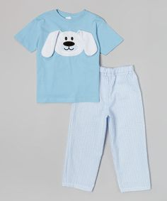 Look what I found on #zulily! Blue & White Floppy Bunny Tee & Pants - Infant, Toddler & Boys by Bizzy Bumpkins #zulilyfinds
