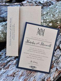Kraft Kraze Wedding Invitations by WiregrassWeddings on Etsy