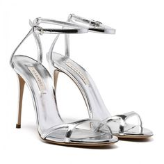 Silver Space ace sandals ❤ liked on Polyvore featuring shoes, sandals, silver sandals and silver shoes