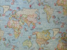 Map fabric world map half meter half yard upholstery fabric atlas blue world map print green travel stamps curtain soft furnishing fabric gumiabroncs Gallery