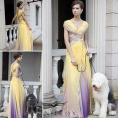 Cap Sleeves Criss-cross Bodice Yellow and Purple Evening Dress Purple Evening Dress, Chiffon Evening Dresses, Chiffon Dress, Evening Gowns, Bridesmaid Dresses, Prom Dresses, Wedding Dresses, Bridesmaids, Wedding Attire