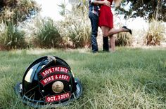 Firefighter save the date photo session Firefighter Engagement Pictures, Engagement Photo Poses, Engagement Inspiration, Engagement Couple, Engagement Photography, Country Engagement, Engagement Shoots, Wedding Engagement, Engagement Ideas