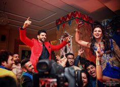 Photographer - The Sangeet Ceremony! Photos, Hindu Culture, Beige Color, Sangeet Makeup, Designer Groom Wear, Sangeet pictures, images, WeddingPlz