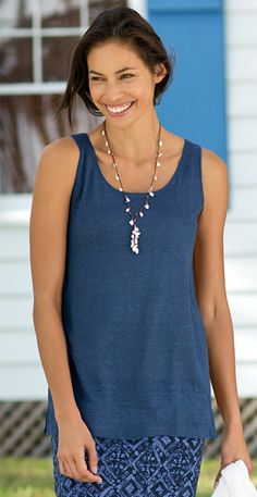 summer linen knit tank, printed knit skirt, delicate pearl tassel necklace