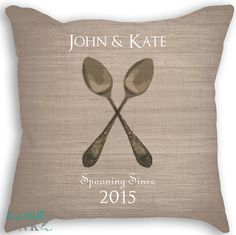 Spooning  Custom Pillow  Wedding Pillow  by livewellink on Etsy