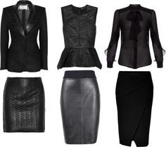 """corporate goth styled staples mix and match: """"Shades of Black: Office Sets"""" by fortheloveofblueshoes on Polyvore"""