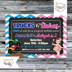 """Monster Trucks and Tiaras Birthday Invitation // Sibling Birthday Invitation // 5""""x7"""" // Personalized Printable Invitation by AsterLaneDesign on Etsy https://www.etsy.com/listing/529957877/monster-trucks-and-tiaras-birthday"""