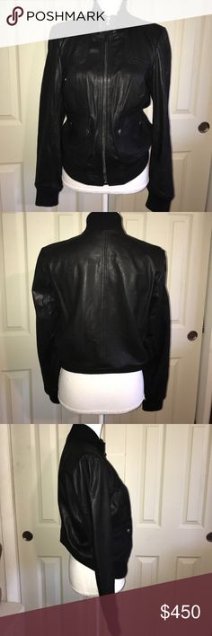 Authentic COACH Lambskin leather Bomber Jacket Gorgeous Coach Black Soft supple Lambskin Leather bomber jacket with two front snap pockets collar and waist band for a flattering fit. Perfect fall or winter jacket! Coach Jackets & Coats