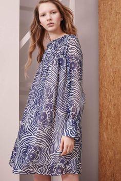 Blue and white silk chiffon minidress