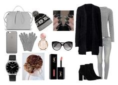"""black fur coat"" by mahoneloverprabh ❤ liked on Polyvore featuring WearAll, Paige Denim, MANGO, Jil Sander, L.K.Bennett, WithChic, Native Union, Mestige, Bulgari and Yves Saint Laurent"