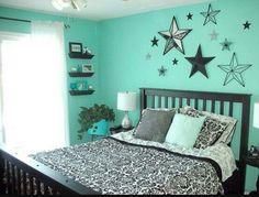 Mint green and black bedroom scheme