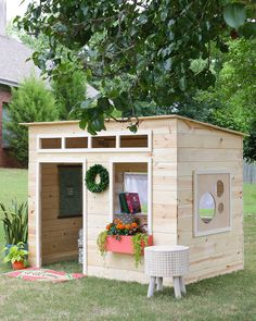 Cheap Easy Diy Playhouse - Easy Playhouse Plans For Fun And Creative Parents Diy Playhouse How To Build A Backyard Playhouse For Your Toddler Surprise Playhouse Backyard Play Ba. Simple Playhouse, Kids Playhouse Plans, Kids Indoor Playhouse, Backyard Playhouse, Build A Playhouse, Wooden Playhouse, Kids Outside Playhouse, Pallet Playhouse, Playhouse Windows