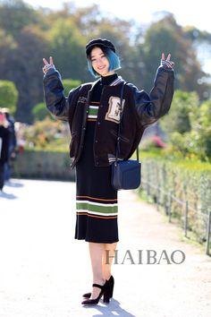 韩国模特Irene Kim 2016春夏巴黎时装周秀场外街拍