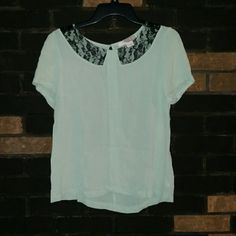 Selling this Peter Pan Collar Cutout Lace Mint Sheer Blouse in my Poshmark closet! My username is: lexthebarbarian. #shopmycloset #poshmark #fashion #shopping #style #forsale #Forever 21 #Tops