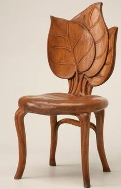 SO BEAUTIFUL! Unusual hand-carved antique French Art Nouveau sculptural chair from the Mountain Region of France in excellent original condition. The wood species cannot be identified but is probably fruitwood. Seat height is France circa 1900 Estilo Art Deco, Muebles Estilo Art Nouveau, Arte Art Deco, Moda Art Deco, Funky Furniture, Unique Furniture, Furniture Design, Chair Design, Design Design