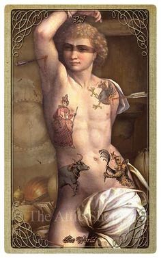 XXI. The World (The Tattooed Man)  -  The Attic Shoppe Halloween Tarot
