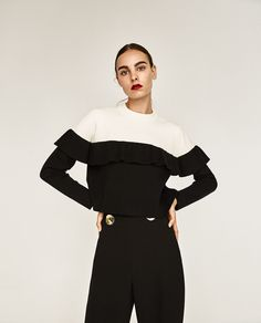Image 2 of TWO-TONE FRILLED SWEATER from Zara