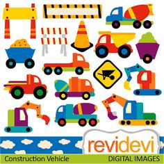 Digital clipart.. Construction Vehicle 07370.. Commercial use for personalized party printable kit, printed cards, web design
