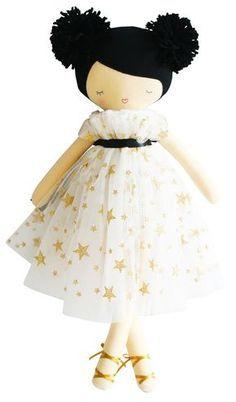 Poupée Iris avec robe étoiles dorées et pompons Alimrose