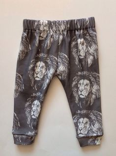 So Cooool - Lion Lionel Lions Organic Cotton Jersey Knit Pants Leggings for Babies, Toddlers and Kids - Boy or Girl Pick the Waistband & Cuffs