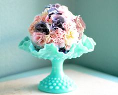 Aqua Blue Milk Glass Pedestal / Turquoise Hobnail Compote / Candy Dish Bowl Pedestal / Candy Dish Stand Wedding Dessert Buffet Bar Candy Bar