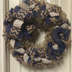 A personal favorite from my Etsy shop https://www.etsy.com/listing/219762292/burlap-wreath-dallas-cowboy-theme-wreath