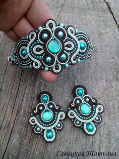 Glamor Turquoise Brown Soutache Set-Turquoise by MagicalSoutache Soutache Bracelet, Soutache Jewelry, Beaded Jewelry, Handmade Jewelry, Beaded Necklace, Handmade Necklaces, Soutache Tutorial, Shibori, Colorful Bracelets