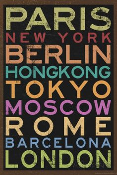 Cities of the World Colorful RetroMetro Travel Plastic Sign Wall sign na AllPosters.com.br