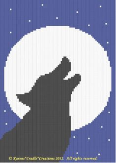 Crochet-Patterns-HOWLING-WOLF-SILHOUETTE-Afghan-Pattern-BEGINNER