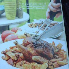 Kip uit Bresse met kaneel, appels en walnoten
