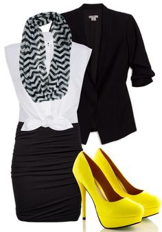 Color pop with classic black and white! love, now how do i stay in those heels all day at work?