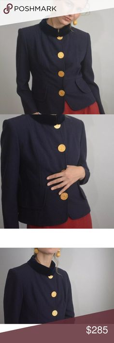 VTG CHRISTIAN LACROIX Blazer Vintage CHRISTIAN LACROIX dark purple wool blazer with velvet collar, marked size 44.  Pre owned in great condition. Gold buttons closure. Lined. Faux pockets on the side.  Made in France. 100% wool.   Shoulder: 16 inches Bust: 38 inches Length: 20.5 inches Sleeves: 21 inches Christian Lacroix Jackets & Coats Blazers