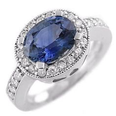 fd0d79e21673 Vintage Gold Diamond Cocktail Ring 0.60Ct Blue Sapphire Gold Sapphire  Diamond