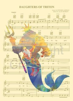La petite sirène Roi Triton partition de musique par AmourPrints