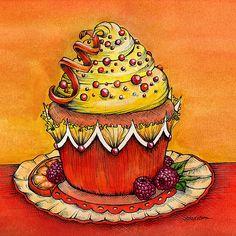 Orange Raspberry Cupcake  Counted cross stitch by Maxispatterns