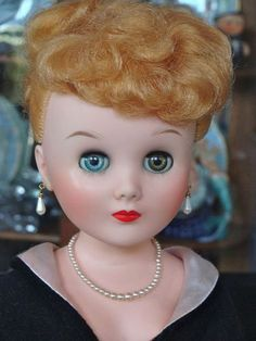 1950's Fashion Doll Wearing Pretty Pink and Black Gown - Bayberry's Antique Dolls #dollshopsunited