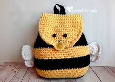 This little Bumble Bee Backpack is perfect for kids to carry out their own stuff. It has a cute smiling bumble bee face on the flap, yellow and black stripes on the body of the bag and small wings, too. I hope you will love this and make!