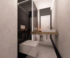 Projekt wnętrza domu z toaletą dla gości w betonie . Dla ocieplenia całej kompozycji zastosowaliśmy drewniany blat pod umywalką.