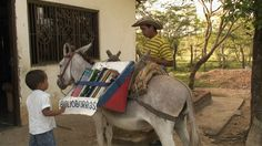 El Biblioburro.  The Biblioburro is a traveling library that distributes books to patrons from the backs of two donkeys, Alfa and Beto. The program was created in La Gloria, Colombia by Luis Soriano.