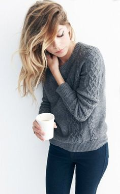 Cozy sweater for cool spring mornings