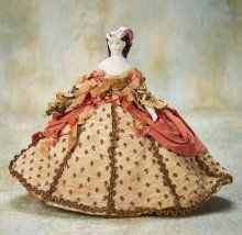 Early German Miniature Doll with Sculpted Bonnet and Original Costume 500/900 | Proxibid Auctions