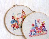 London and Paris - Ten Dollars - Modern Cross Stitch Pattern PDF - Instant Download