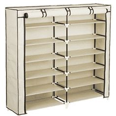 Songmics Portable Shoe Rack Closet Organizer Shoe Storage Cabinet Shelf with Fabric Cover Beige Wood Storage Rack, Shoe Storage Organiser, Shoe Rack Organization, Shoe Storage Cabinet, Closet Storage, Storage Cabinets, Closet Racks, Wardrobe Storage, Shoe Organizer
