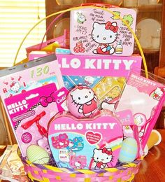 Hello Kitty Gifts, Pink Hello Kitty, Hello Kitty Items, Hello Kitty Birthday, Easter Gift, Easter Crafts, Easter Baskets For Toddlers, Hello Kitty Images, Christmas Gift Baskets